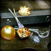 Two Tone Topaz and Pearl Earrings in the Making