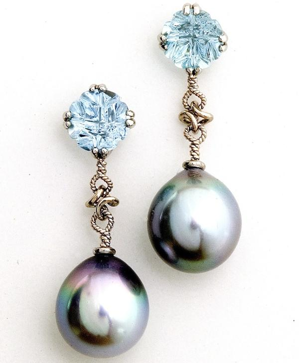 Handmade 18kt White Gold Mozambique Aquamarine & Silver Blue South Sea Pearls