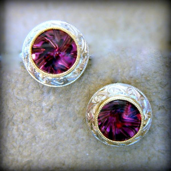 Handmade 18kt Yellow and White Gold With Tanzanian Rhodolite Garnets