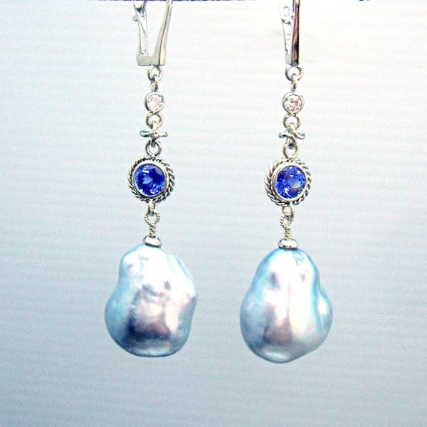 18kt White Gold South Sea Keshi Pearl, Diamond & Sapphire Earrings